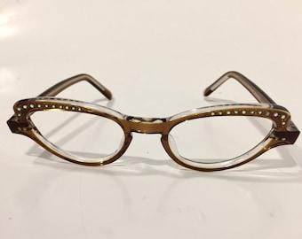 1bd9bf98999c 60s Brown Cateye Eyeglasses   Vintage Cat Eye Glasses with Rhinestones   Unused  Cateye Frames   NOS Womens Eyeglass Frames   French Cateyes