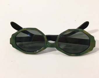 31d6de427 60s Vintage Sunglasses | New Old Stock | Vintage Green Sunglasses | French  60's Rare Green Octagon Eyewear Glasses Eyeglasses Frames France