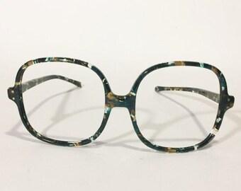 890d67c0d27e Vintage 70s Blue Tortoise Large Eyeglasses | New Old Stock | Large Square  Glasses Frames | NOS Blue Tortoise Large Oversize Sunglass Frames