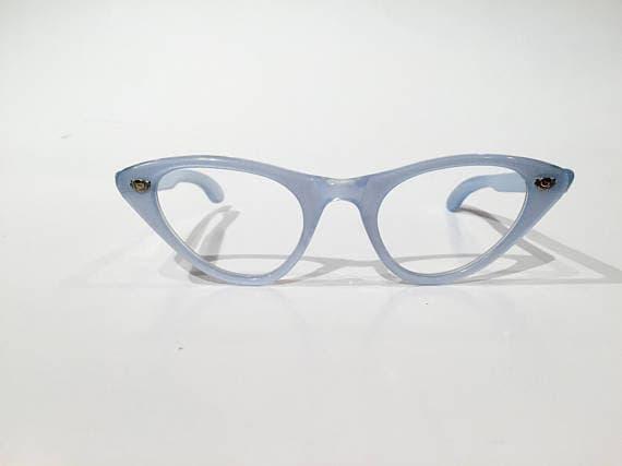 Blue Cat Eye Glasses   Vintage Blue Cateye Frames