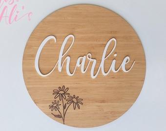 12 or 16 inch Bamboo circle name sign Family Name sign, Wedding gift Chevron wood name sign Modern Nursery decor Baby name sign