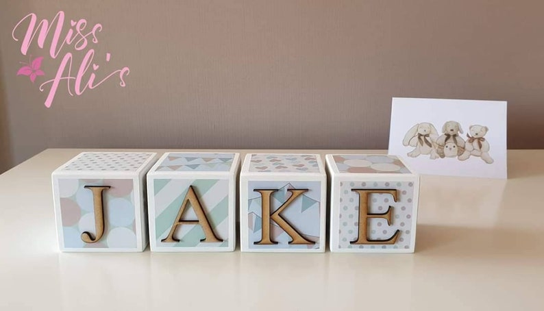 Baby keepsake gift Personalised Wooden Name Blocks VINTAGE CARNIVAL Baby name blocks