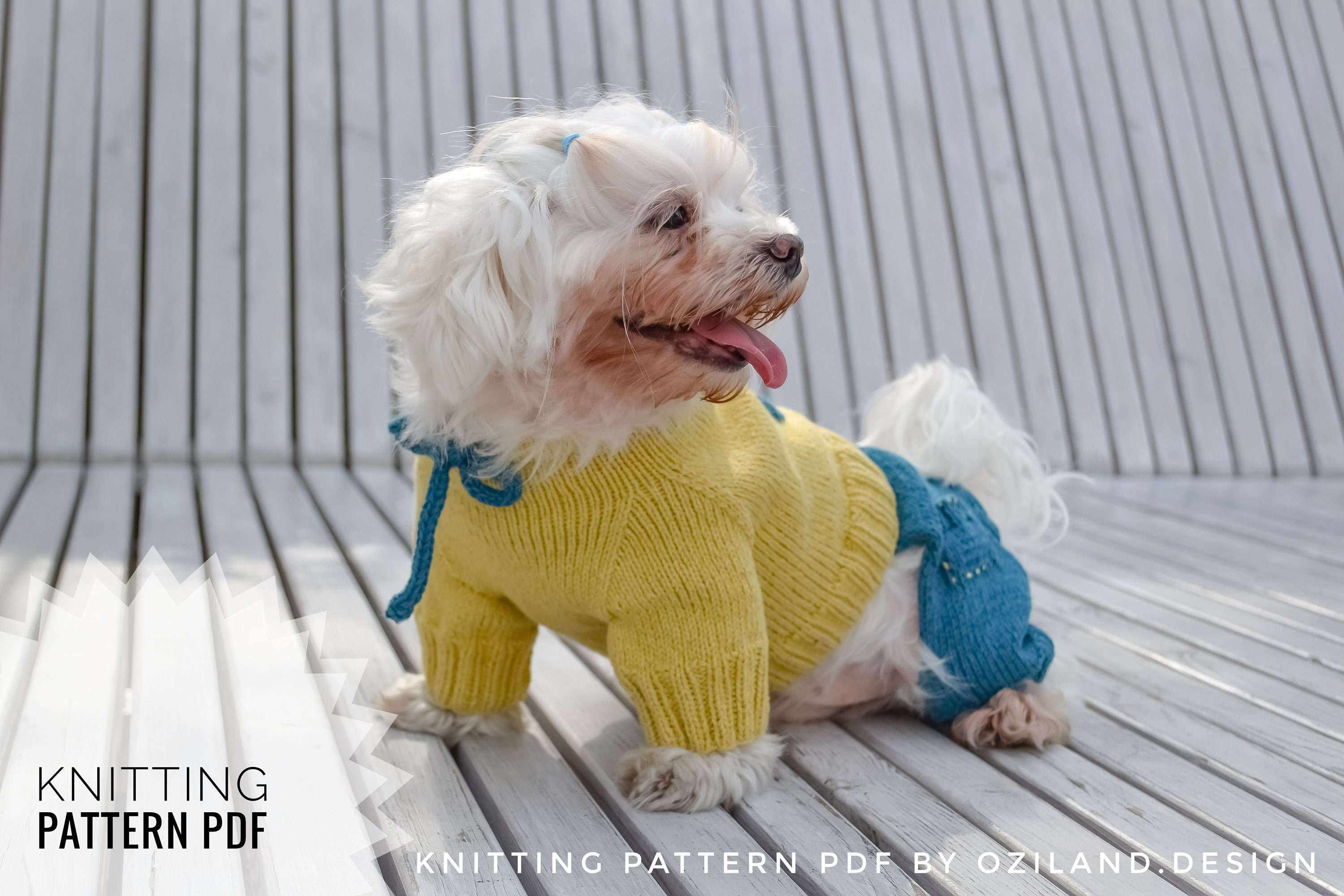 Jumpsuit For Small Dog Size L Pdf Knitting Pattern Diy