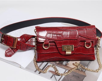 c888b6f96c7d Crocodile Inspired Leather Vintage Retro Waist Bag Womens Belt Bag  Crossbody Bag Fanny Pack Metal Chain Shoulder Bag