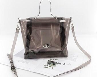 c20d319878d7 PVC Transparent Clear Bag Womens Shopping Bag Beach Shoulder Bag Ladies  Large Handbag Summer Concert Bag