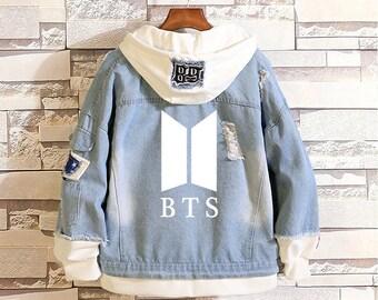 0552f70c1 Kpop Boy Band BTS Fans Matching Hooded Patchwork Denim Jacket Unisex Fashion  Lovers Denim Top Mens Jacket Womens Jacket Coat