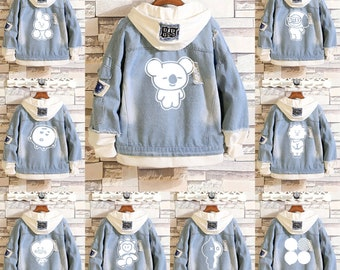 4eff0599c Kpop BTS Cartoon Koya Chimmy Fans Matching Hooded Patchwork Denim Jacket  Unisex Fashion Lovers Denim Top Mens Jacket Womens Jacket Coat