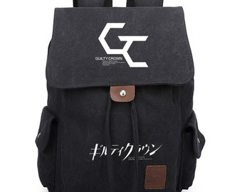 d6a195b4aa Japanese Anime Guilty Crown Inspired Vintage Canvas Backpack Students School  Bag Mens Laptop Bag Matching Book Bag Womens Backpack