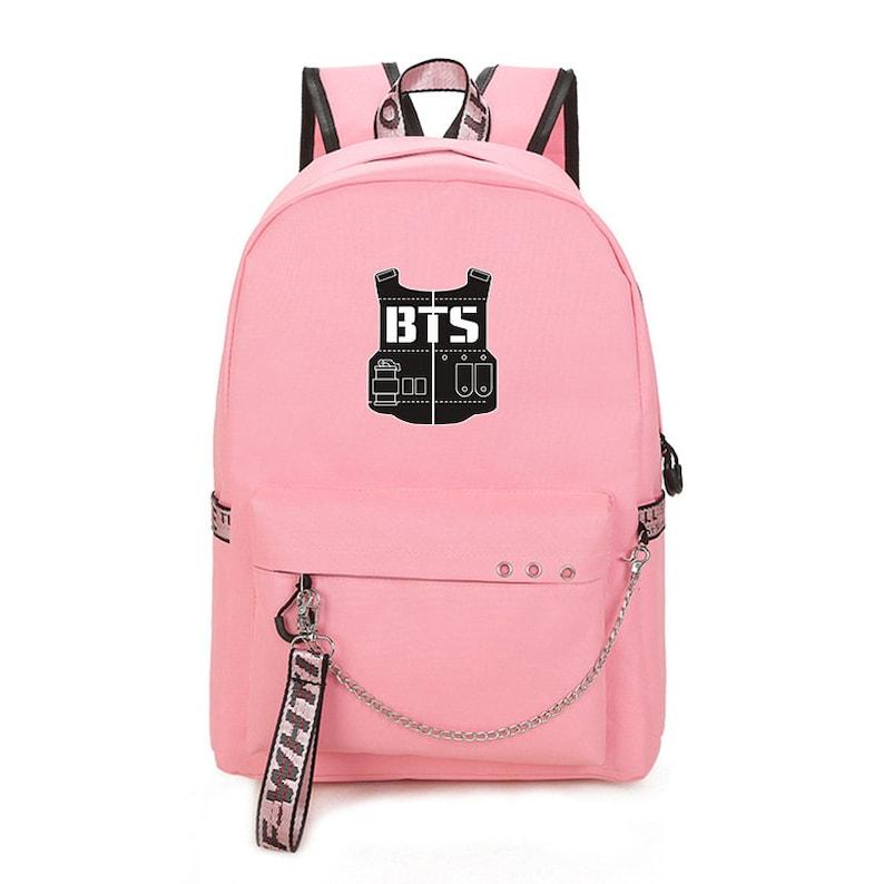 Kpop BTS V Jung Kook Jimin Army Fans Matching Backpack with USB Port Birthday Gift Students School Bag Womens Travel Bag Pack Rucksack