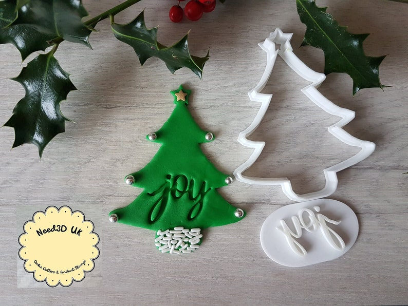 Joy Christmas Tree Stamp & Cookie Cutter Set  Embosser image 0