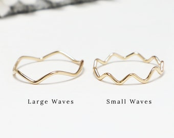 Thin Gold Wavy Wave Ring, Zig Zag Dainty Gold Rings For Women, Delicate Ring, Thumb Ring, Gold Filled, Minimalist Jewelry Gift   Wave Rings