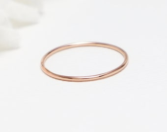 Super Thin Rose Gold Ring, Simple Rings For Women, Pink Gold Ring, Dainty Skinny Stacking Ring, 14K Rose Gold Ring, Thumb Ring   Bliss Ring