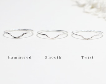 Super Thin Silver Chevron U Ring, Curved Ring, Simple Rings for Women, Dainty Minimalist Wave Ring, Delicate Casual Ring   Mettle Rings