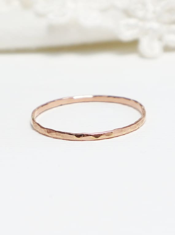 THIN hammered stacking ring  14k Gold Filled  Dainty jewelry  Gift for her