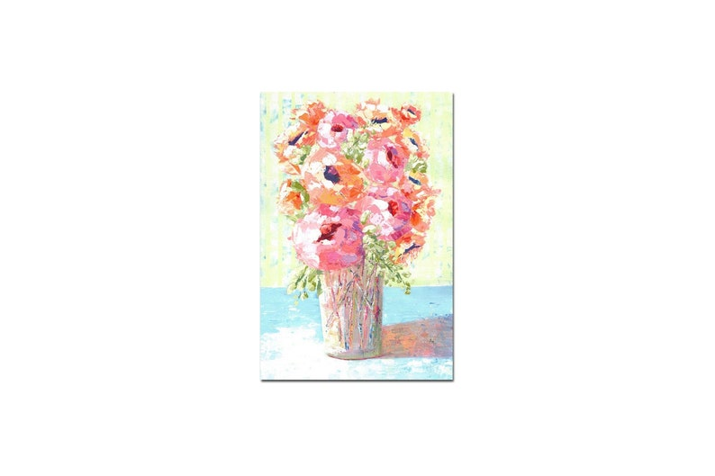 Acrylic art in pink orange blue light green Home decor wall art. Painting of flowers in vase Original painting 12x18 IMPRESSIONIST art