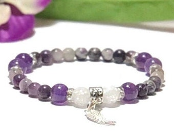 Angel Wing Love bracelet for women, Sugilite healing crystal bracelet, Amethyst gemstone bead bracelet, Angel Wing charm