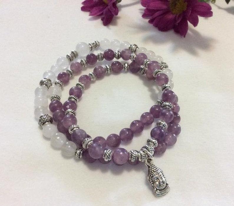 White Jade beaded bracelet Lepidolite wrap yoga bracelet crystal gemstone jewelry