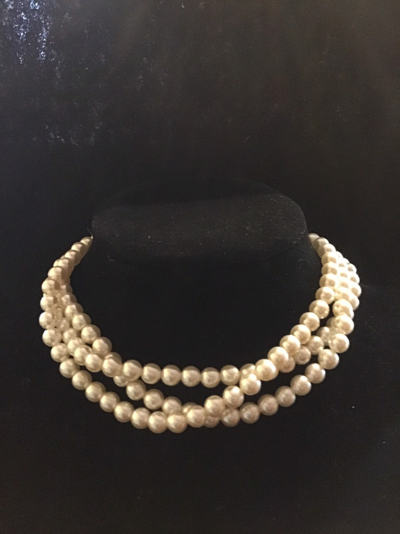 a38e4c906eeb3 Vintage Japan Triple strand 0ff White Faux Pearl Choker style necklace from  the 1950s, Vintage faux peals, Wedding necklace.