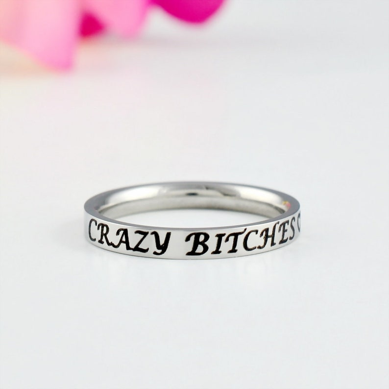 BFF Besties Gift for Bridesmaids Best Friends Dainty Stainless Steel Stacking Band Ring Crazy Bitches Sorority Sisters