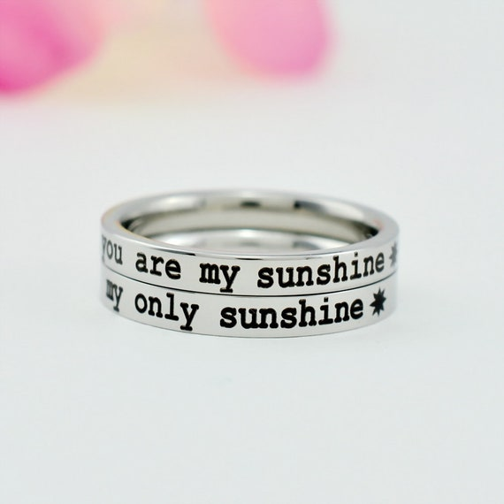 you are my sunshine my only sunshine Mom Daughter Sisters Friends Forever Family Love Dainty Stainless Steel Stacking Band Ring Set of 2