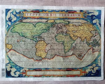 Map paper decoupage | Etsy