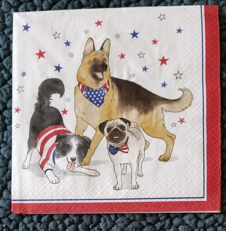 3 napkins for decoupagedecorative napkins 4th of July napkinspatriotic dogs