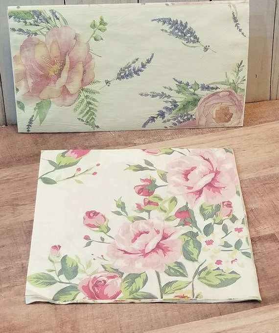4 x Single Paper Napkins mix Flowers Butterfly for Decoupage and Crafting 118
