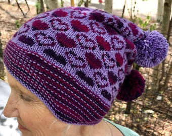 Beanie Womens Hat Knitting Pattern PDF - 'With All My Love' - For DK weight yarn.