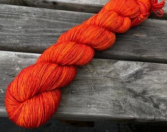 Bona Yarns -  100g hand dyed yarn - 'Ember' - DK/Fingering/Sock - Superwash Merino/BFL - Semisolid Flame Orange