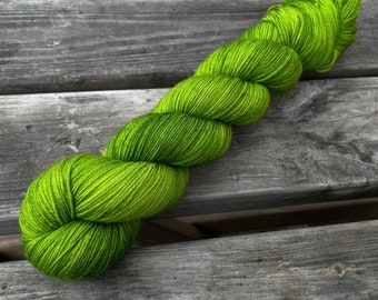 Bona Yarns -  100g hand dyed yarn - 'Get Off of My Lawn!' - DK/Fingering/Sock - Superwash Merino/BFL - Green