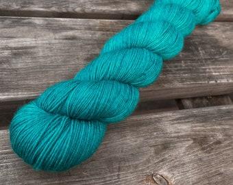 Bona Yarns -  100g hand dyed yarn - 'Steal' - DK/Fingering/Sock - Superwash Merino/BFL - Teal Blue