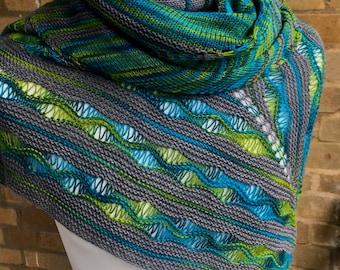 Unisex Shawl Knitting PDF Pattern  - 'Wave Goodbye'