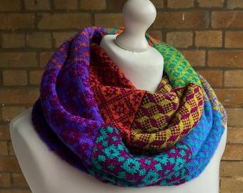 Latvian Inspired Infinity Scarf Fingering Weight PDF Knitting Pattern - Latvianesque