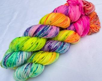 Bona Yarns - 'What A Gay Day!' -  hand dyed DK weight yarn - superwash BFL - neon rainbow speckles
