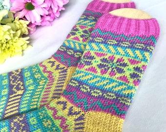 Fairisle Socks Ladies Women PDF Knitting Pattern - Hoffnung (Hope)