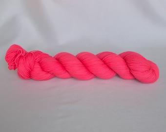 Bona Yarns - 'That's So Hot!' - hand dyed yarn  - DK/Fingering/Sock - Superwash Merino/BFL - fluorescent coral pink
