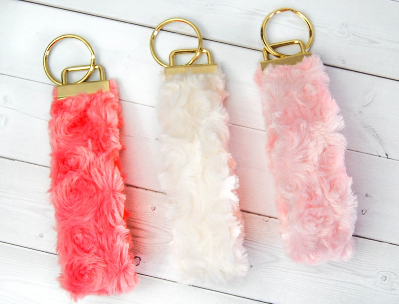 Faux Fur Keychain Keyfob Bridesmaid Teacher Gift Soft and Fuzzy Minky by Home Dry Goods
