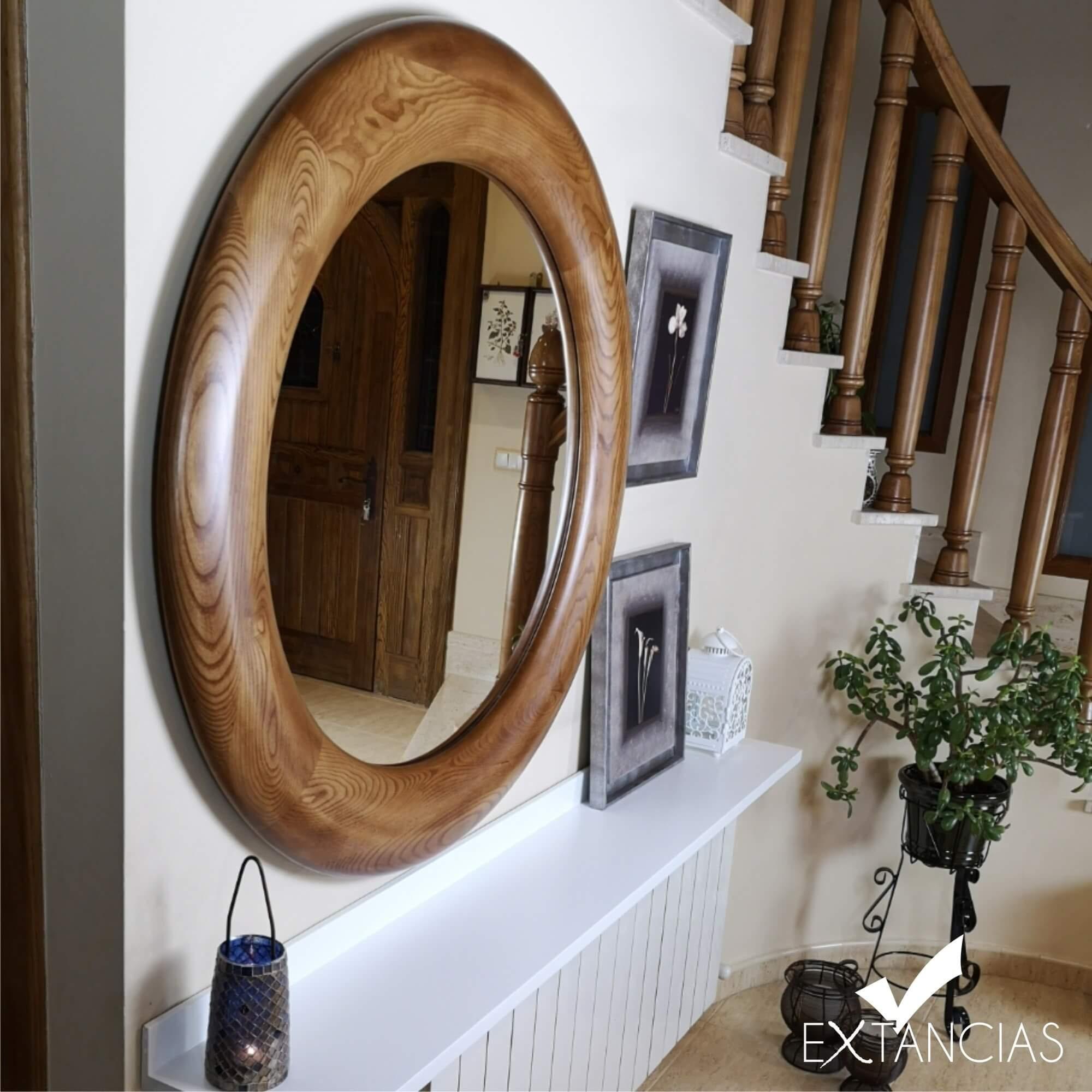 Round Mirror Wall Mirror Large Mirror Solid Wood Mirror Etsy