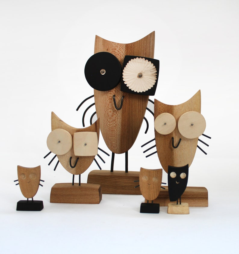 Wooden Owls Figurine Hand Carved Mini Modern Sculpture Wood Art Table Decor Gift Idea Eco Friendly Gift Sculptures Wood Animal Owl