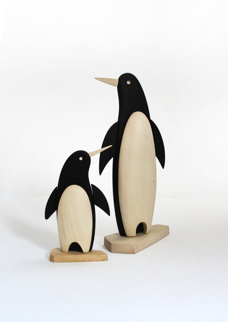 Wooden Penguin Figurine Hand Carved Mini Modern Sculpture Wood Art Table Decor Gift Idea Eco Friendly Gift Sculptures Wood Animal