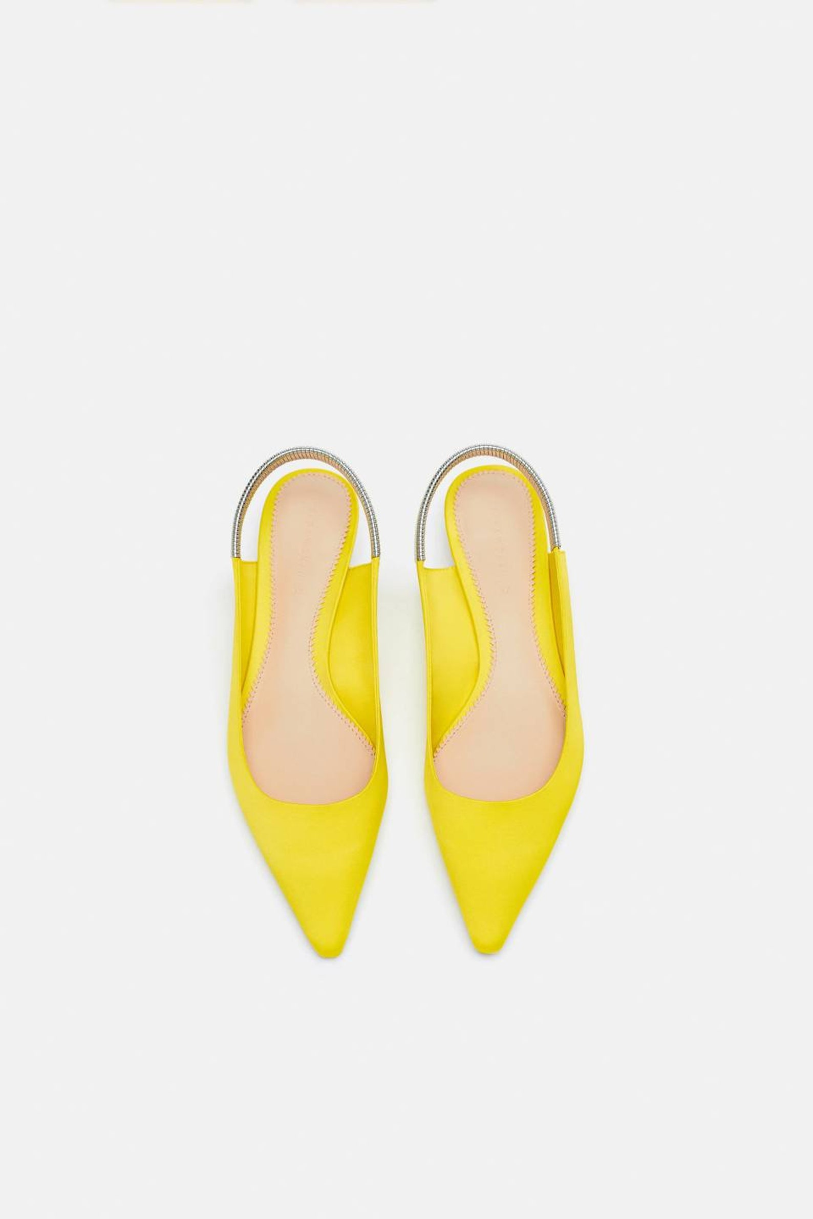 open babet shoes, yellow heel open ballet shoes. back with metallic mesh band. metallic heels.