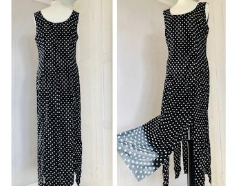 Monochrome With Tassel Flapper Fringe Hem Black White Polka Dot Dress UK14 EU42 US12 Sleeveless Lightweight Floaty Slip On Dotted Dress