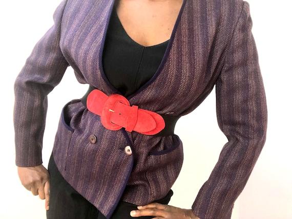 80s Red Suede Elasticated Stretchy Belt, Medium La