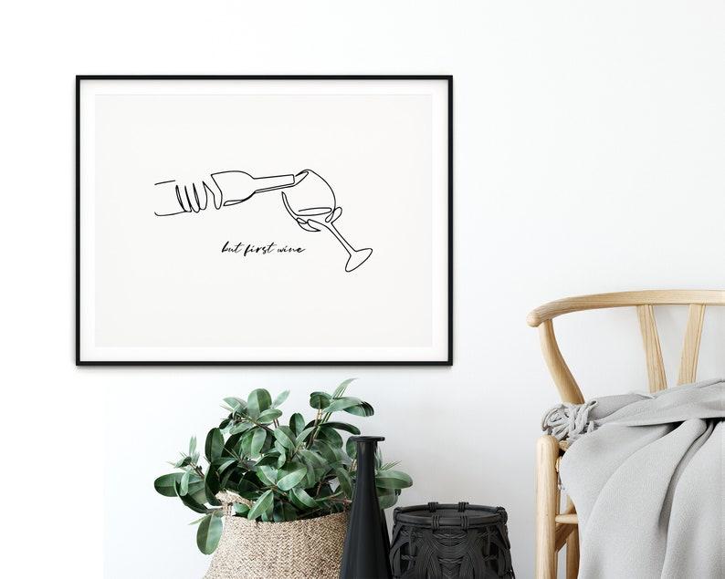 Modern Prints Line Drawing Wine Poster Kitchen Art Wine Print Black and White Prints Printable Wall Art Home Decor Horizontal Prints
