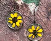 Real pressed black eyed susan earrings