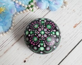 Mandala small wooden round box, stone painting dots art