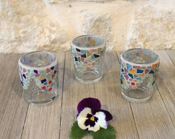 008688e732 Multicolor Mosaic Stained Glass-Glass Gem Votive Candle Holders (Set of 3),  Custom, Made to Order, Wedding, Party Decorations, Home Decor