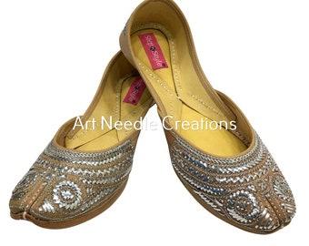 bfa4f4de8 Traditional handmade jutti women shoes leather mojari flip-flops khussa