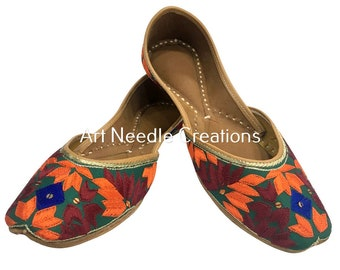 fe2de8a1a Womens colourful indian khussa flat pumps shoes phulkari with payel punjabi  jutti