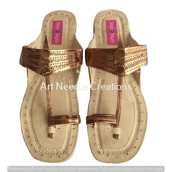 Step n Style Handmade Casual Flat Sandal Khussa Shoes Kolhapuri Flat Saree Ballet